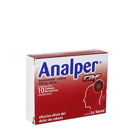 Analper CAF (Acetaminofén 500mg- Cafeína 40mg) x 10 Cápsulas LA SANTÉ